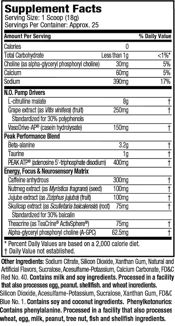 Nutrition Facts For Muscletech Peak Series Pre-workout