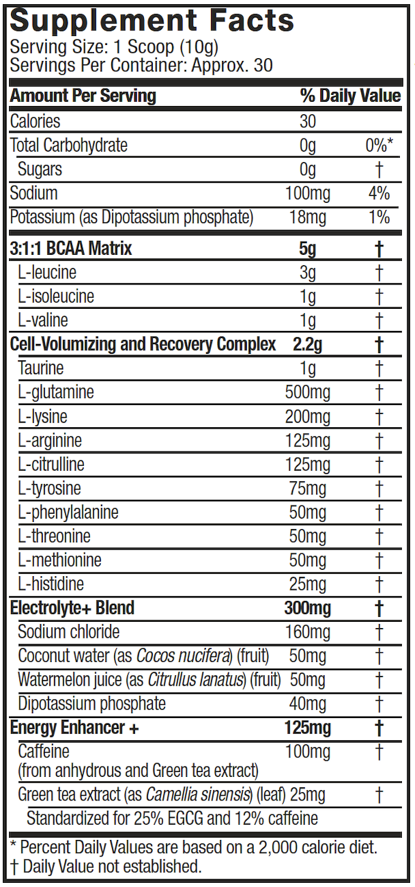 Nutrition Facts For MuscleTech Platinum Amino + Energy 30 Serve