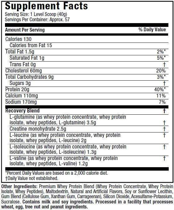 Nutrition Facts For Muscletech Premium 100% Whey Protein Plus 5lb