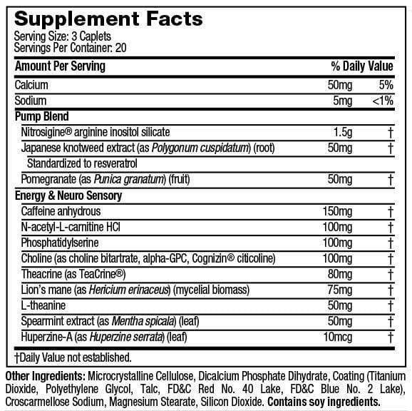 Nutrition Facts For Muscletech SX-7 Black Onyx Neuro N.O. 60 caps