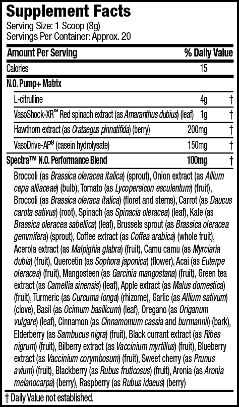 Nutrition Facts For Muscletech SX-7 Black Onyx Shatter Pumped8 Non-Stim