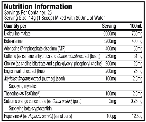 Nutrition Facts For Muscletech Vapor Max Pre-Workout