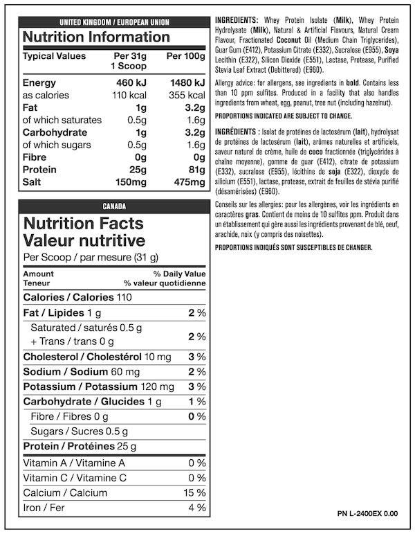 Nutrition Facts For Mutant Iso Surge Whey Protein Isolate 5lb