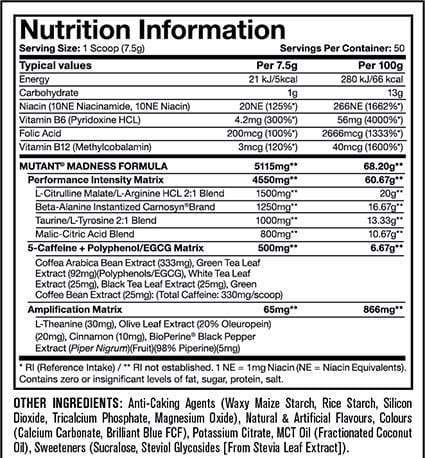 Nutrition Facts For Mutant Madness Preworkout 30 Serve