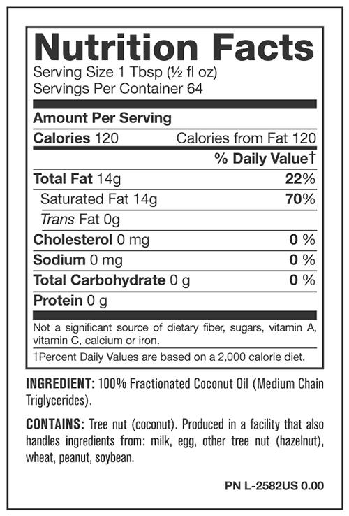 Nutrition Facts For Mutant MCT Oil
