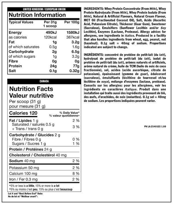 Nutrition Facts For Mutant PRO Time-Released Whey Protein 2lb