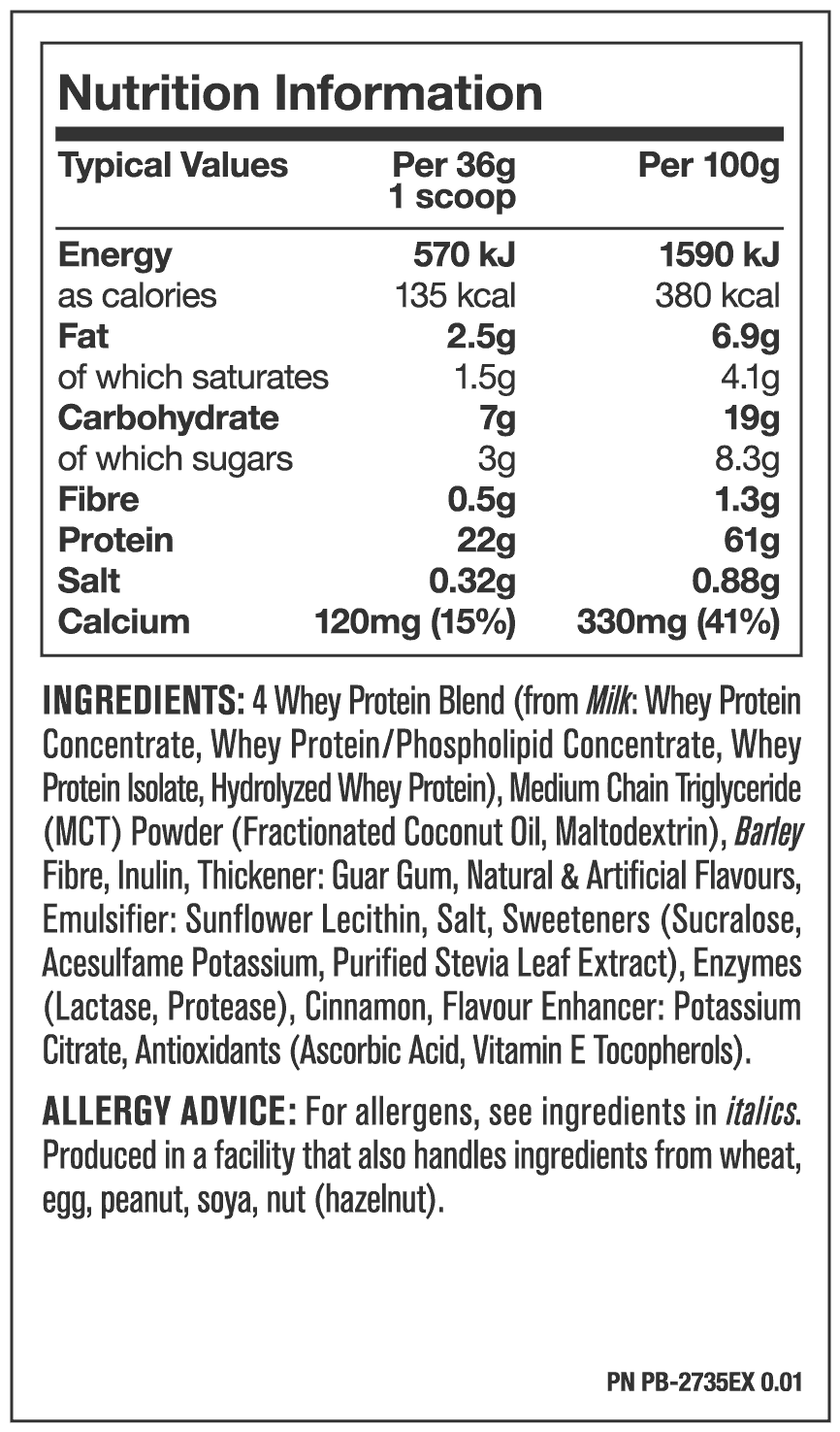 Nutrition Facts For Mutant Whey 10lb