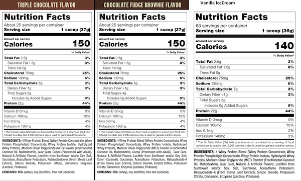 Nutrition Facts For Mutant Whey Dual Chamber Bag 4lb