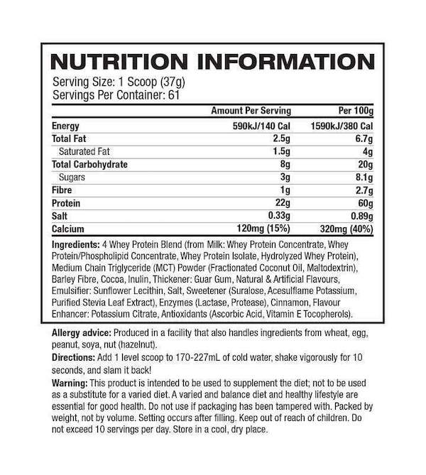 Nutrition Facts For Mutant Whey Protein 2lb