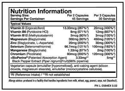 Nutrition Facts For Mutant ZM8+