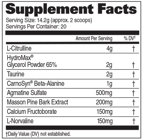 Nutrition Facts For GAT Nitraflex Pump 20 Serve