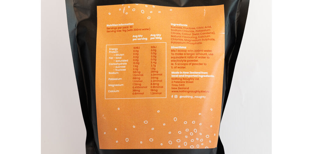 Nutrition Facts For Nothing Naughty Electrolyte Hydration Powder 515g