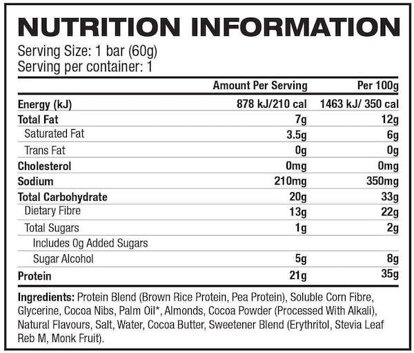 Nutrition Facts For No Cow Protein Bars 12 Box