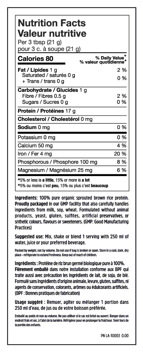Nutrition Facts For North Coast Naturals Organic Sprouted Raw Brown Rice Protein 340g