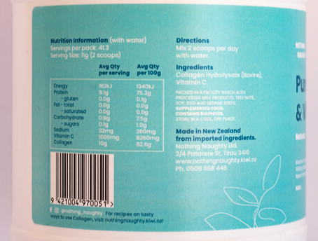 Nutrition Facts For Nothing Naughty Collagen Peptides Powder + Vitamin C 500g