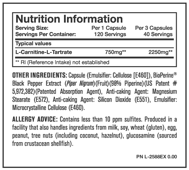 Nutrition Facts For Mutant Carnitine