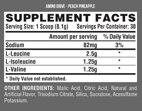 Nutrition Facts For Nutrex Amino Drive 30 serve