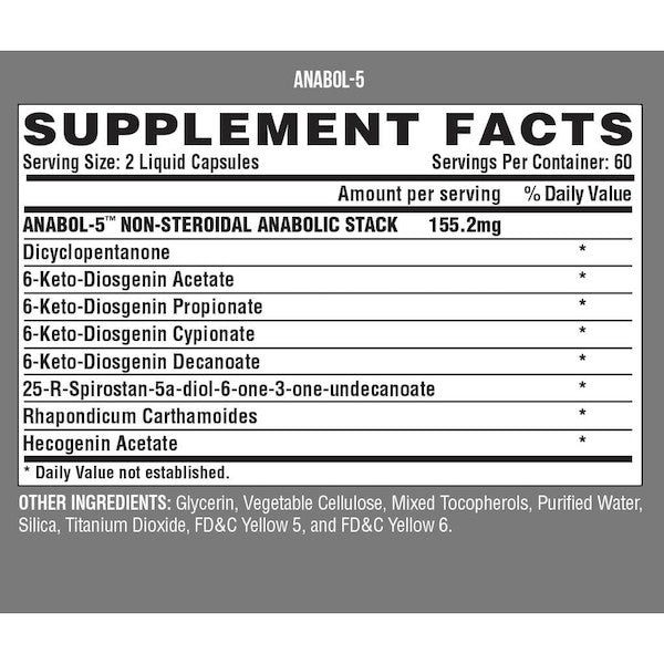 Nutrition Facts For Nutrex Anabol 5