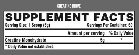 Nutrition Facts For Nutrex Creatine Drive 150g