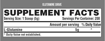 Nutrition Facts For Nutrex Glutamine Drive 150g