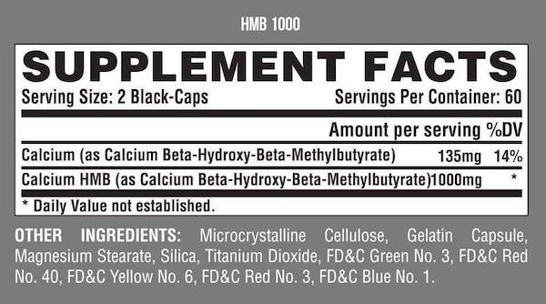 Nutrition Facts For Nutrex HMB 1000 120 Caps