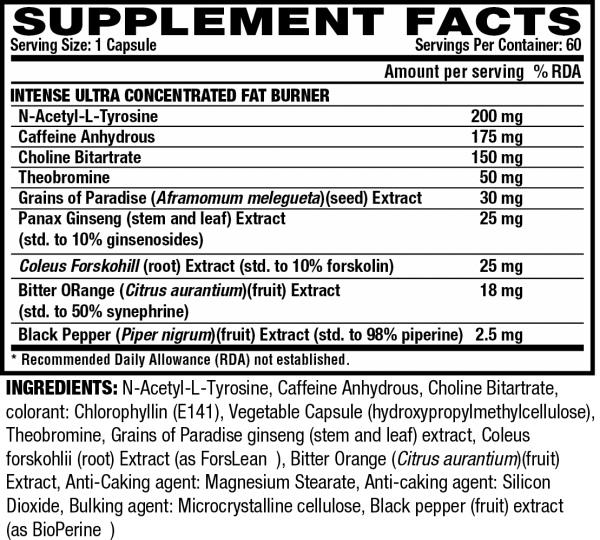 Nutrition Facts For Nutrex Lipo-6 Black Intense Ultra Concentrate