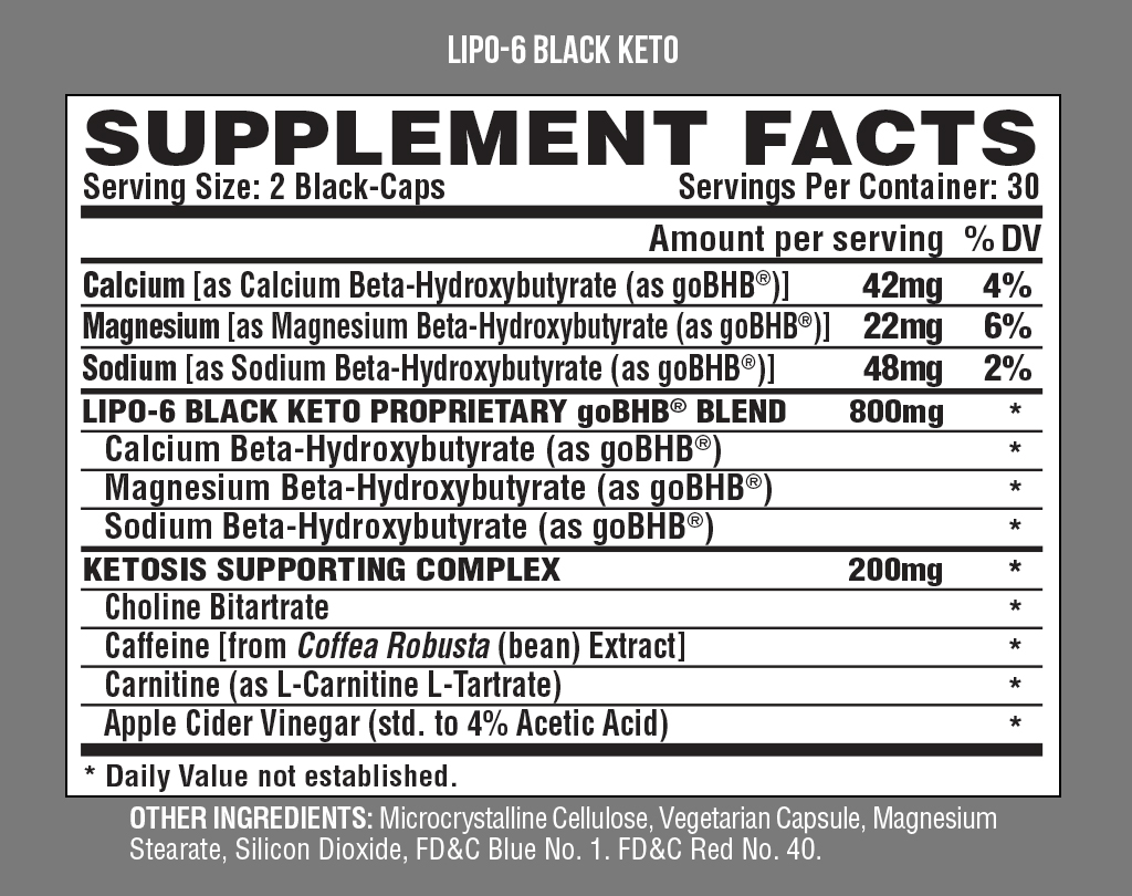 Nutrition Facts For Nutrex Lipo 6 Black Keto 60 Caps