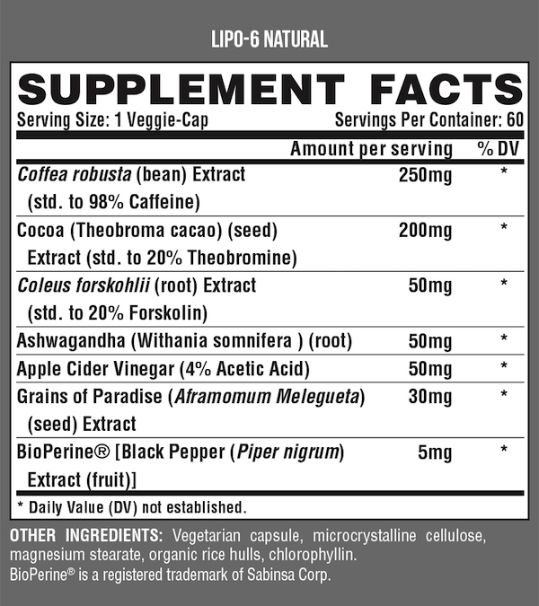 Nutrition Facts For Nutrex Lipo-6 Natural 60 Caps