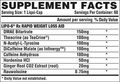 Nutrition Facts For Nutrex Lipo 6 Rx Fat Burner