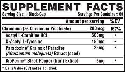 Nutrition Facts For Nutrex Lipo-6 Ulta Concentrate Stim Free 60 Caps