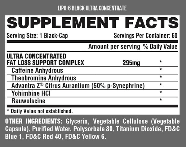 Nutrition Facts For Nutrex Lipo 6 Black Ultra Concentrate