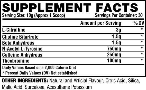 Nutrition Facts For Nutrex Outlift Concentrate Pre Workout