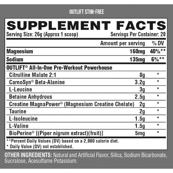 Nutrition Facts For Nutrex Outlift Stim Free