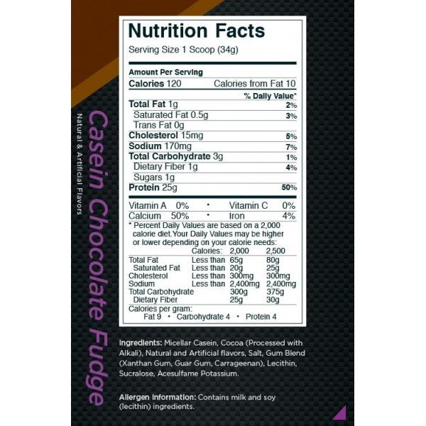 Nutrition Facts For Rule 1 Casein Protein 4lb