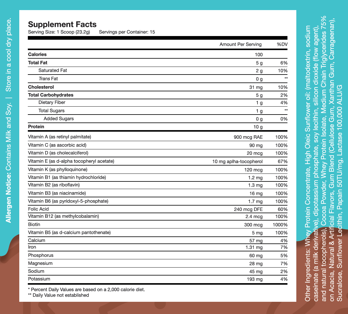 Nutrition Facts For Obvi. Kids Complete Protein 312g