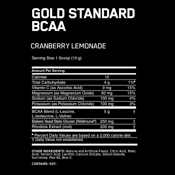 Nutrition Facts For Optimum Gold Standard BCAA