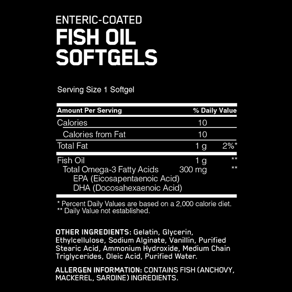Nutrition Facts For Optimum Fish Oil 100 Softgels