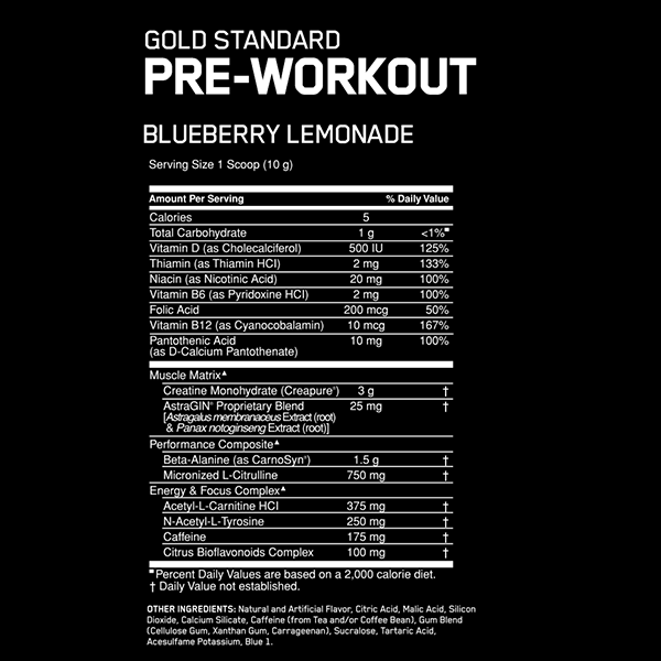 Nutrition Facts For Optimum Pre Workout 550g