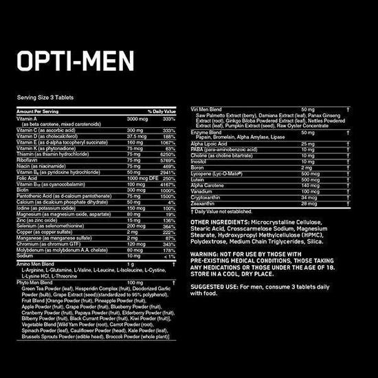 Nutrition Facts For Optimum Optimen Vitamins 150 Tabs
