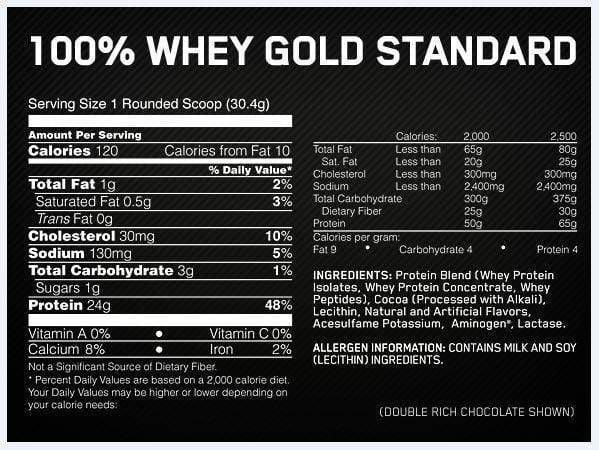 Nutrition Facts For Optimum 100% Whey Gold Standard 3.5lb