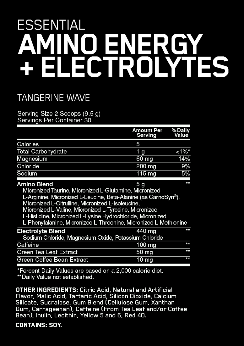 Nutrition Facts For Optimum Nutrition Amino Energy + Electrolytes