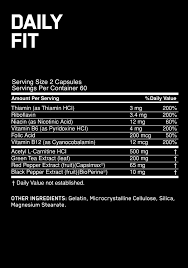 Nutrition Facts For Optimum Nutrition Daily Fit Metabolic Support