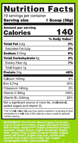 Nutrition Facts For Optimum Nutrition Gold Standard 100% Plant Protein