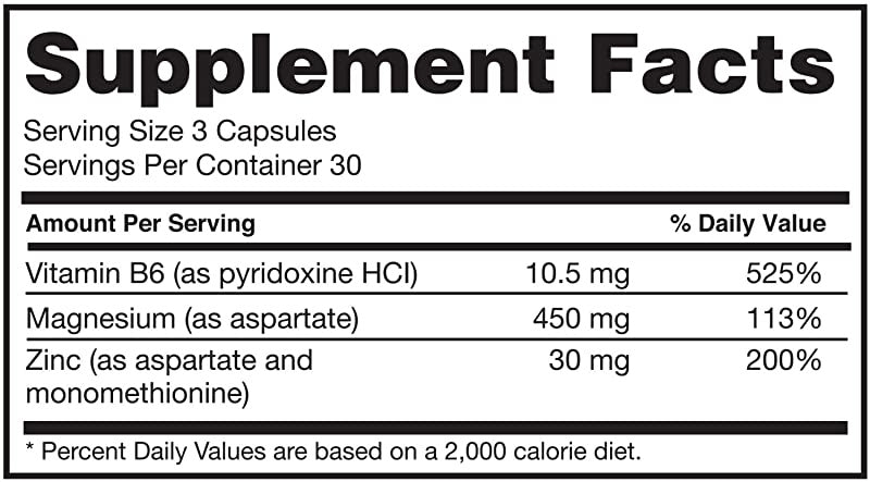 Nutrition Facts For Optimum ZMA 90caps