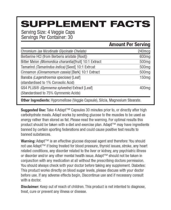 Nutrition Facts For Outbreak Nutrition Adapt