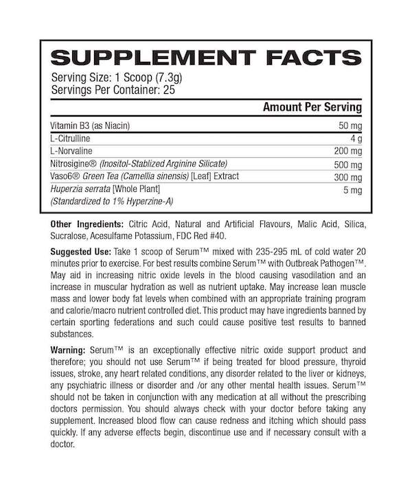Nutrition Facts For Outbreak Nutrition Serum V2 Nitric Oxide