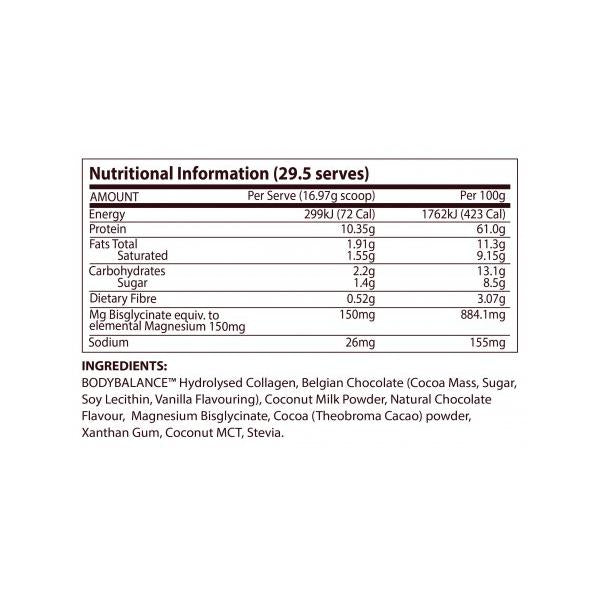 Nutrition Facts For ATP Science NoWay Hot Chocolate Collagen Protein