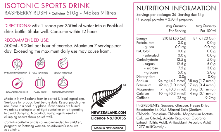 Nutrition Facts For PEAKFUEL Hydration 500g