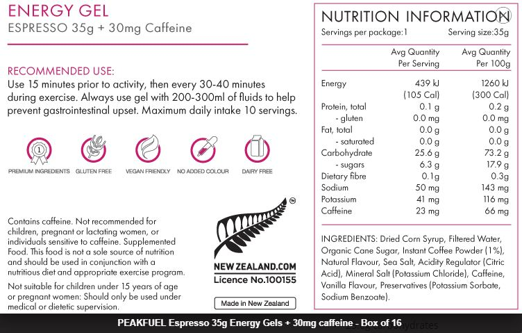 Nutrition Facts For Peakfuel Energy Gels 35g 16 Box