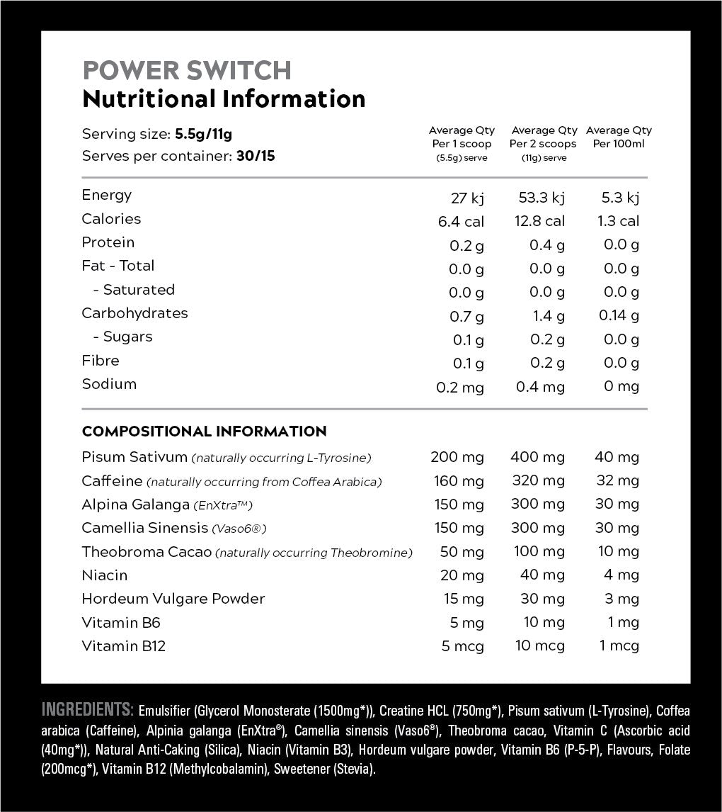 Nutrition Facts For Switch Nutrition Power Switch 30 serve (New Size)
